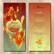 Iris flower wedding menu card. Printable Vector illustration - stock illustration
