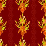Floral seamless pattern. Red iris flower background. - stock illustration