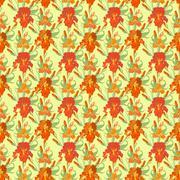 Floral seamless pattern. Red iris flower background. - stock illustration