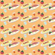 Breakfast on a plate eggs bacon lettuce tomato a cup pattern - stock illustration