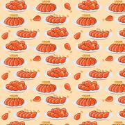 vector illustration fried chicken legs seamless pattern - stock illustration