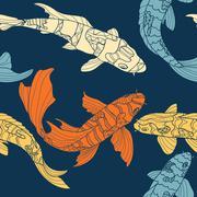 The pattern of koi - stock illustration