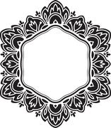 Unusual, hexagonal, black lace frame, decorative element with empty place for - stock illustration