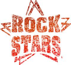 Grunge style rubber stamp Rock stars in red tones Stock Illustration