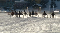 St Moritz grand prix horse trotting Stock Footage