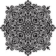 Abstract black vector round lace design - mandala, decorative element. Stock Illustration