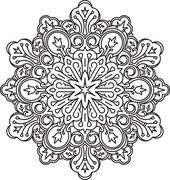 Round asymmetrical decorative element - lace mandala in zentangle style. Styl Stock Illustration