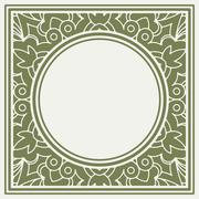 Square lace design element with a round middle place for your text or decor. Stock Illustration