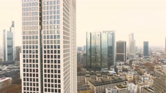 Flight through Frankfurt Skyline Stock Footage