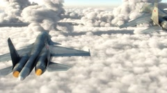 Attack aircraft flying above the clouds Stock Footage