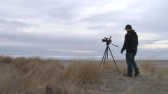 Cameraman At The Beach. - stock footage