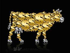 Golden Calf Cash Cow Dollar Symbols Stock Illustration