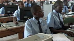 African students studying at computer lab in school - Education in Africa - stock footage