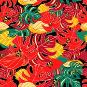 Exotic pattern and jungle frogs Stock Illustration