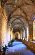 Cloister of San Benito convent, Alcantara Stock Photos