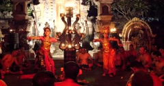 Village women dance while men chant at performance in Hindu temple Ubud, Bali Stock Footage