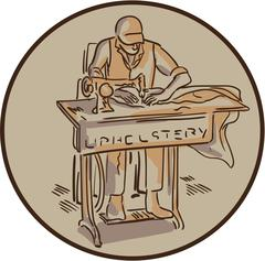 Tailor Upholsterer Sewing Machine Drawing - stock illustration