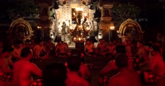 Village men chanting performance at Hindu temple Ubud, Bali - stock footage