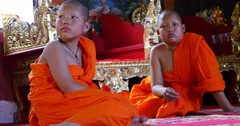 Buddhist monk children in temple Pai, Northern Thailand, Mae Hong Son Stock Footage