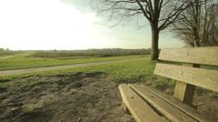Rural empty bench flycam Stock Footage