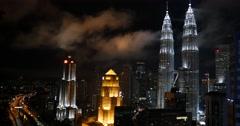 Cityscape at night of Petronas twin towers Kuala Lumpur, Malaysia - stock footage