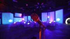 Microphone on stage at a concert venue  Stock Footage