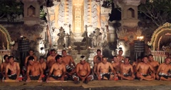 Village men fire walking and chanting performance Hindu temple Ubud, Bali Stock Footage