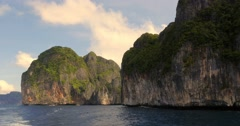 Limestone cliffs off coast of Phuket, Thailand Stock Footage