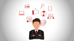 Businessman with technology icons, Video Animation Stock Footage