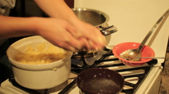 Klößen making traditional German dumplings Stock Footage