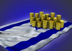 Israeli economy concept with national flag and golden coins - stock illustration