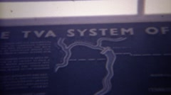 1966: Tennessee valley authority master map river dam locations. OAK RIDGE, Stock Footage