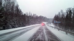 Driving on a highway, in a snow storm, bad weather, in Raasepori, Finland Stock Footage
