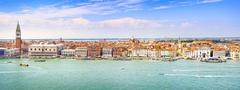 Venice panoramic landmark, aerial view of Piazza San Marco or st Mark square, - stock photo