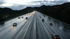Los Angeles Freeway Winter Rain Traffic Stock Footage