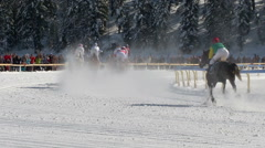 St Moritz lady world championship horse race Stock Footage