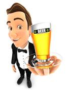 3d waiter holding a glass of beer Stock Illustration