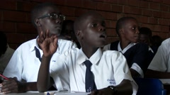 Portrait of African students at school-respond to teacher-Education in Africa Stock Footage