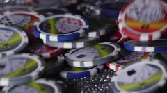 GAMBLING CHIPS IN SLOW MOTION. Stock Footage
