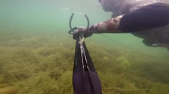 Man swimming and spear fishing in the mediterrain sea. Free diving spearfisher h Stock Footage