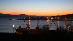 Early winter morning in the port of Nakhodka, Russia Stock Footage