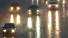 Los Angeles Freeway Heavy Rain Traffic Stock Footage