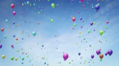 Flying backwards through lots of floating balloons UHD 4K proresHQ Stock Footage