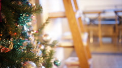 snowman and Christmas Balls on Christmas Tree, panning camera shot in HD - stock footage