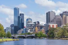 Office buildings and Yarra River in Mebourne CBD Stock Photos