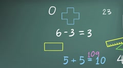 Animation of mathematics math theory and mathematical in doodle in blackboard Stock Footage