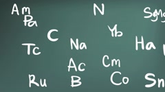 Animation chemistry element in Periodic table in doodle blackboard background Stock Footage