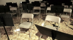 Empty Band Room With Empty Chairs Stock Footage