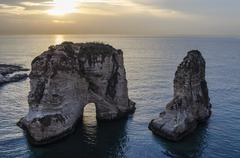 Stock Photo of Pigeon Rock in Beirut,Lebanon
