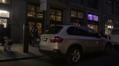 Suspicious nondescript unmarked white van parked on Broadway in SoHo Christmas Stock Footage